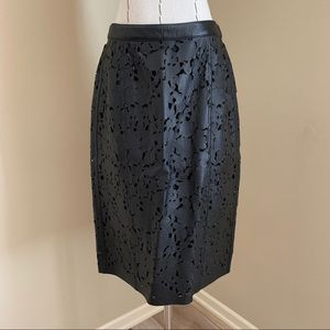 Burberry London Laser Cut Leather Pencil Skirt